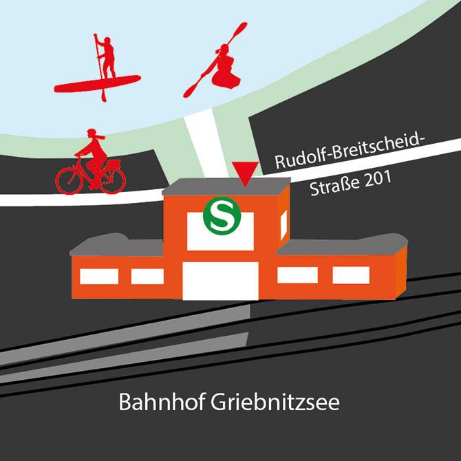 Lageskizze Fahrradladen, Verleih, Verkauf, Radstation, Kajakverleih, SUP-Verleih, Potsdam Bahnhof Griebnitzsee