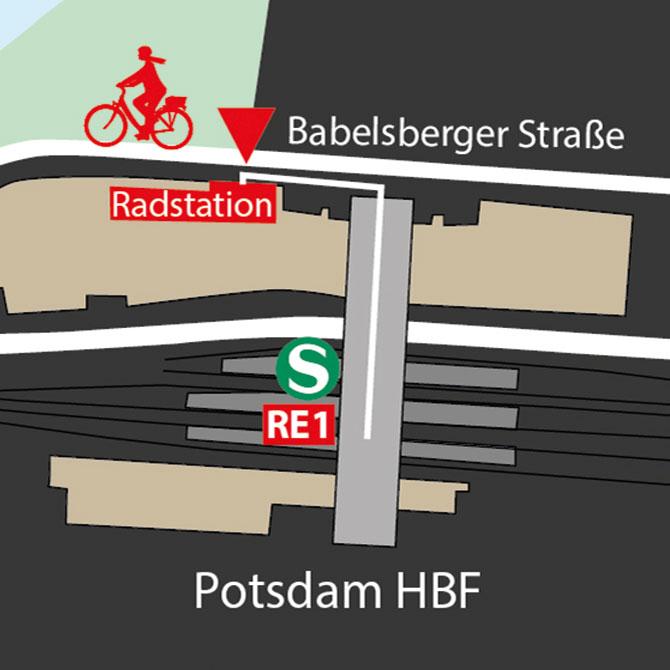 Lageskizze Fahrradladen, Verleih, Verkauf, Radstation Potsdam Hauptbahnhof