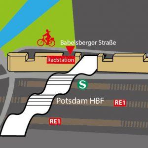 Fahrradverleih, Fahrradwerkstatt, Fahrrad-Parkhaus, Potsdam Hbf